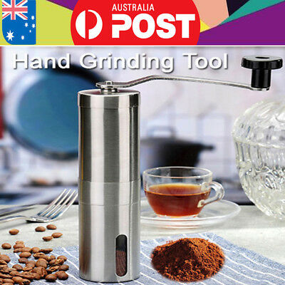 Stainless Mill Steel Manual Coffee Bean Grinder Kitchen Hand Grinding Tools AU