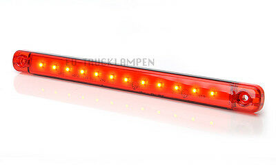 LED UMRISSLEUCHTE 238mm LANG! ROT 12 LED - UNI 12/24 VOLT SUPER FLACHE 10,4mm