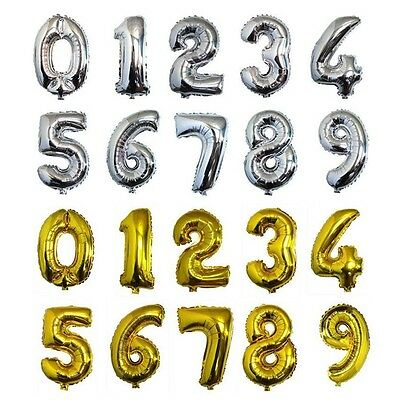 Fashion 16 Inch Silver Foil Number Balloons Birthday Wedding Party Decoration F6
