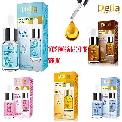 Delia 100% Serum Face & Neckline Anti Wrinkle vitamins A+ E+ F Collagen Argan