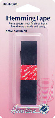 Hemming Tape: Navy 3m x 20mm. Iron on for secure neat/finish to hems/mend tears