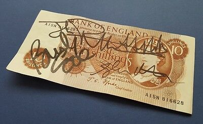 Vintage 10 Shilling Note, Signed by The Sex Pistols