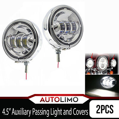 """4.5"""" Auxiliary Passing Fog Spot LIghts + Metal Shell Covers for Harley Davidson"""