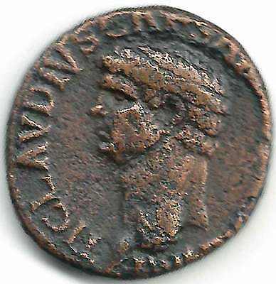 ROMAN IMPERIAL - CLAUDIUS (41-54AD) AE AS. His head right, Rev S.C. MINERVA vf