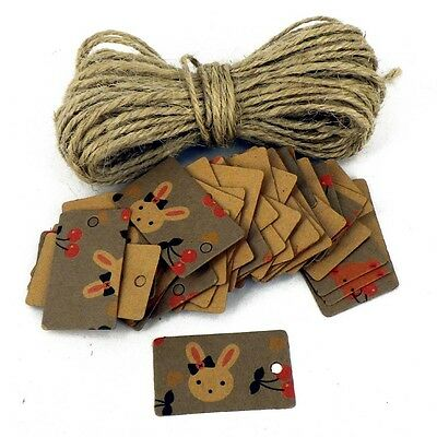 Card Pricing Tags with 10m of rustic string Bunnies Design natural Crafts x 50
