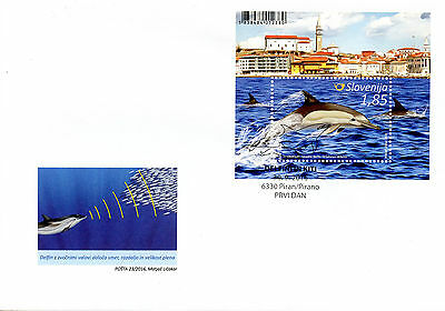 Slovenia 2016 FDC Whales & Dolphins 1v M/S Cover Marine Animals Stamps
