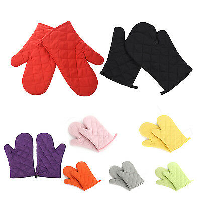 Kitchen Heat Resistant Cotton Oven Glove Pot Holder Baking Cooking Mitts F6