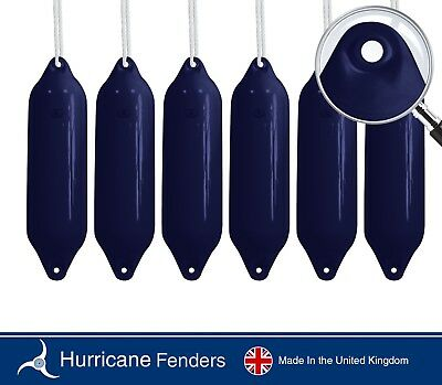 """6 X Hurricane Boat Fenders - Navy - 31"""" x 8""""- FREE ROPE INCLUDED"""