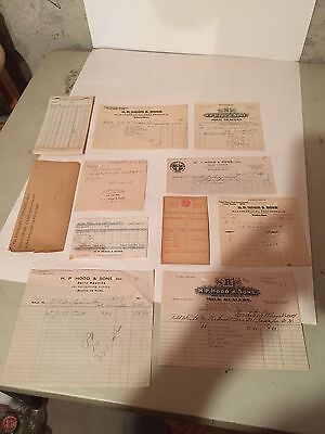 Vintage H.P. Hood Dairy Bills, Order Pad and other papers - Boston, MA