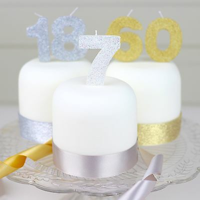 Silver Glitter Birthday Candle Number 1 30 40 50 60 70 80 90 100 birthday cake