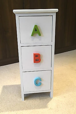Children's Chest of Drawers White Kids Bedroom Nursery Storage Unit Alphabet