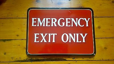 Reclaimed Vintage 1970's 1980's Hand Painted Emergency Exit Only Wooden Sign