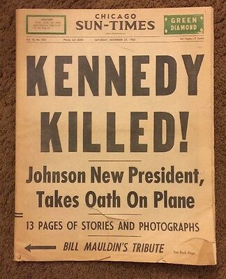 Chicago Sun-Times Newspaper 1963 Kennedy Killed