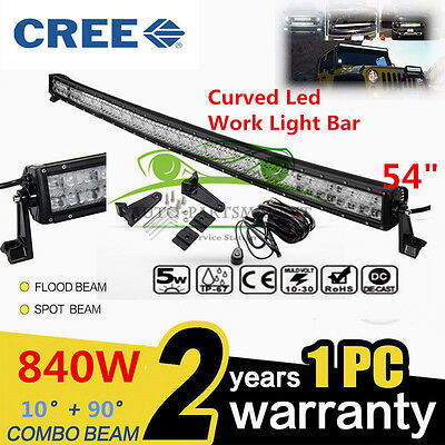 "CREE CURVED 840W 54"" LED Combo Work Light Bar Offroad Driving Lamp SUV Pickup"