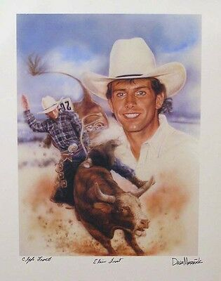 Limited Autographed Lane Frost PBR PRCA Pro Rodeo Lithograph Print Poster