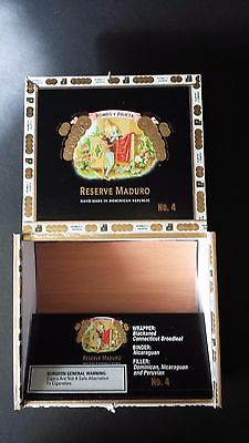 Empty Wood Cigar Box Romeo Y Julieta No. 4 Reserve Maduro Black