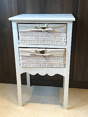 Small White Bedside Table Shabby Chic 2 Drawer Wicker Storage Baskets Nightstand