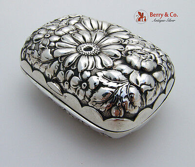 Floral Repousse Soap Box Sterling Silver Wallace 1900