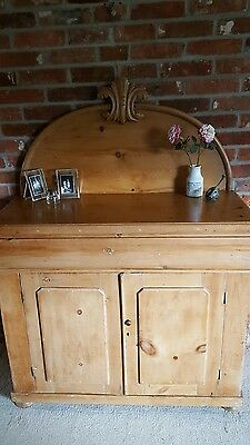 victorian pine chiffonier/sideboard/cupboard with cushion drawer over two doors