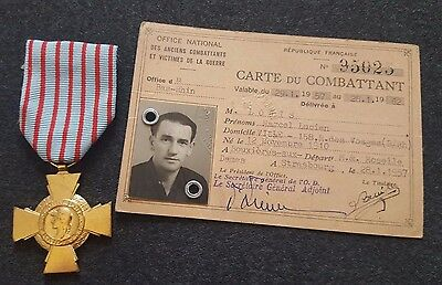 Original lot WW2 French Medal Combatant Cross ID Soldier 1939-1945 Indochina War