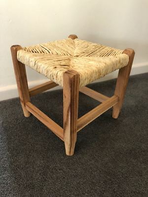 Small Stool Vintage Retro Wicker Rattan Wood Brown Footstool Children's Seat