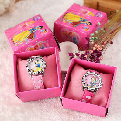 12pcs/Lot Princess watches Cartoon Wristwatch Kids Watch With Gift Box Y779