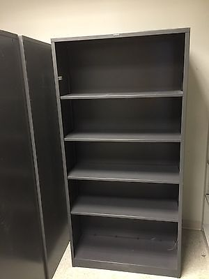 """34 1/2""""Wx12 1/2""""D x 71""""H METAL BOOKCASE by HON MODEL S72ABC in DARK GRAY COLOR"""