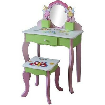 Girls Wooden Dressing Table Pink Colourfull Stool Small Furniture Little Girl