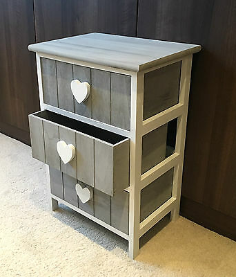Grey Storage Cabinet 3 Drawers Bedside Table Children's Furniture Heart Vintage