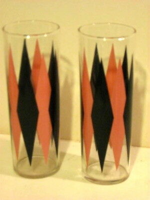 2 Vintage Retro Diamond Tall Narrow Drinking Glasses 12 oz.