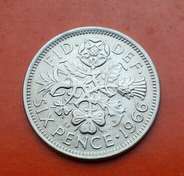 UK Great Britain 6 Pence 1966. Six cents coin. Elizabeth ll. Six pence.