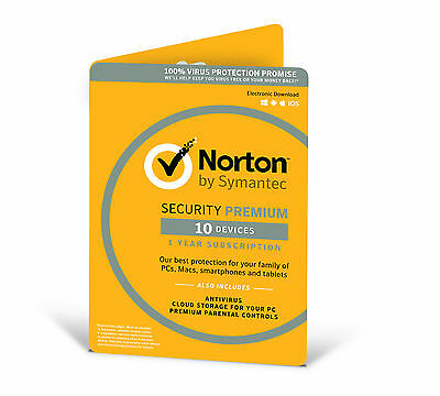 Norton Security Premium 10 Devices 1 Year Retail Card (2017 Ready)