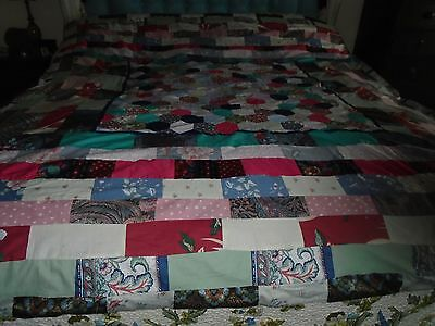 Vintage Hand Made Patchwork Quilt - 75 X 88 Inches
