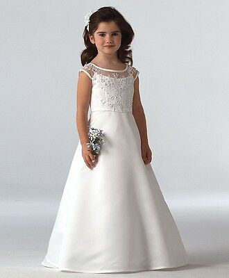 White Girls Bridesmaid Wedding Birthday Holy Communion Pageant Flower Lace Dress