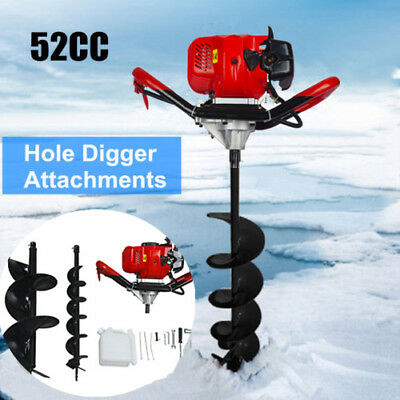 "52cc Petrol Earth Auger 2.2HP Post Hole Borer Ground Drill with 6"" +10""  Bits"