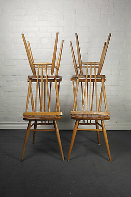 Four Original 1960s Ercol Stickback Dining Chairs Kitchen Country Mid Century