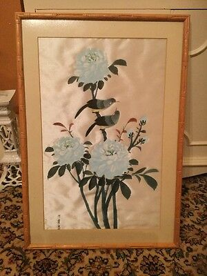 Vintage Chinese Painting On Silk Of Perching Birds In Bamboo Style Frame