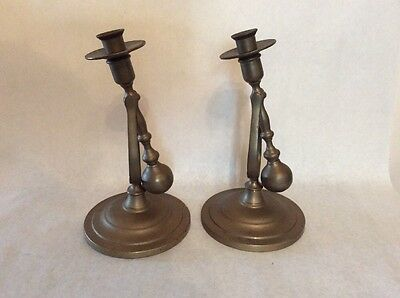 Vintage Pair Nautical Brass Candle Wall Sconces Uneven Attic Wall SWIVEL Boat