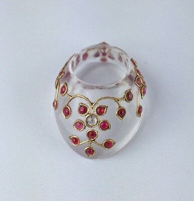 OTTOMAN Mughal Style ROCK CRYSTAL GEM Setted Archer ring archery QING Dynasty