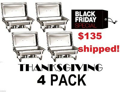 CATERING 4 PACK CHAFER CHAFING Dish Sets 8 QT BLACK FRIDAY DEAL fREE sHIPPING