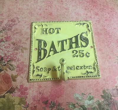 "Cast Iron Antique Rustic Style ""Hot Baths 25"" Plaque Hook Hat Towel Hook Yellow"