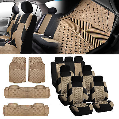 7Seaters 3ROW Beige Seat Covers with Beige Floor Mats For Sedan SUV VAN