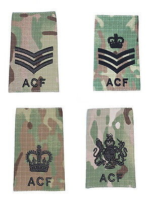 ACF Army Cadet Force CFAV Adults Rank Slides MTP Black Thread Single or Pair