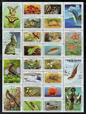 1991 National Wildlife Federation Birds/Otter/Wolf Sheet (24) NWF Stamps MNH
