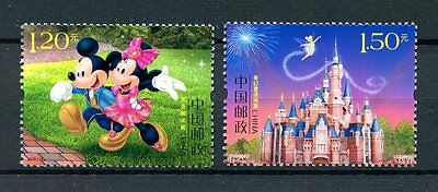 China 2016 MNH Shanghai Disney Resort 2v Set Mickey Minnie Mouse Cartoons Stamps