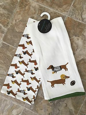 Dachshund Dogs Football Kitchen Tea Towels Cynthia Rowley NWT Set Of 2