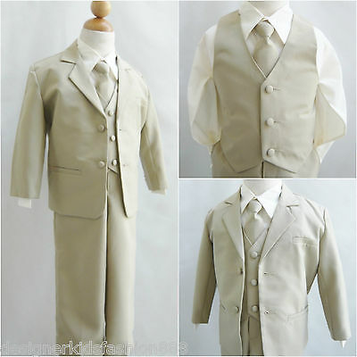 Khaki/beige/ivory baby Toddler Teen Youth boy formal suit wedding recital party