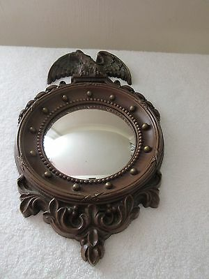 Vintage Syroco Eagle Convex Mirror Porthole Wall Hanging Copyright Date 1945