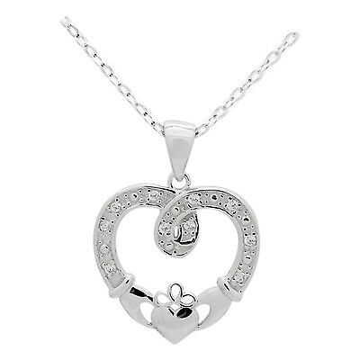925 Sterling Silver Claddagh Irish Hearts Crown Hand CZ Pendant Necklace 16+2 in