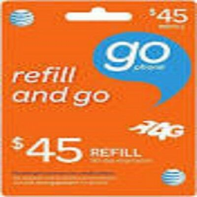 AT&T Go phone $45 FASTEST REFILL card DIRECTLY to PHONE Number Read Description